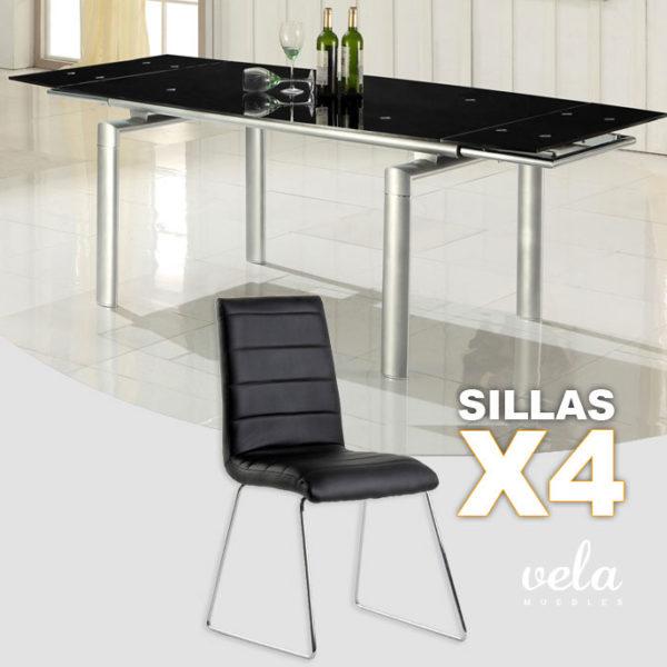 Mesa extensible y sillas en negro oferta de mesa for Conjunto mesa extensible y sillas comedor