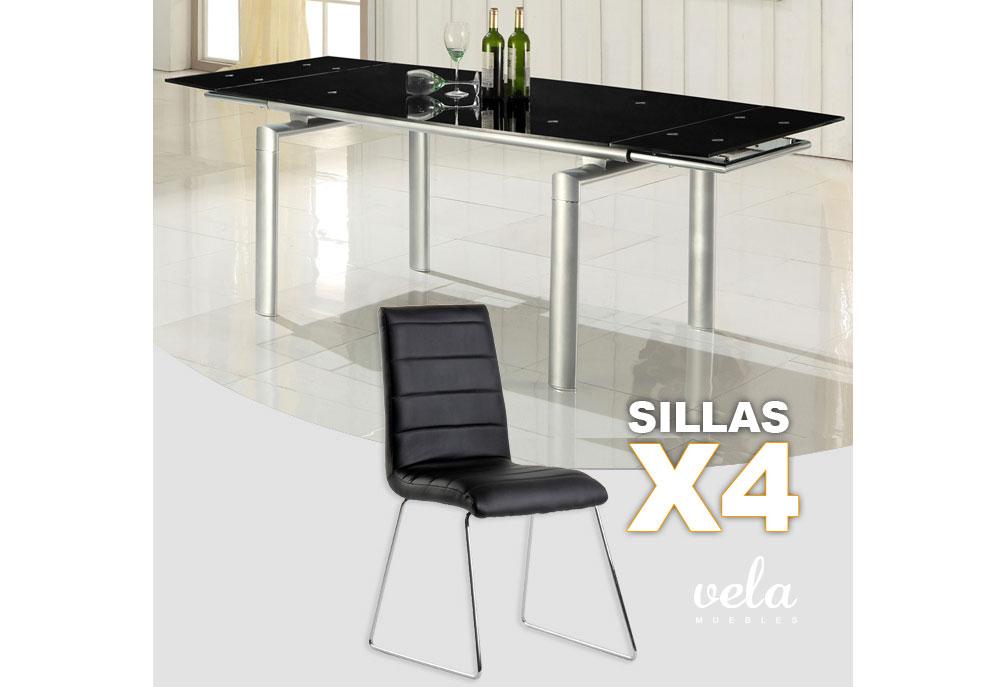 Mesa extensible y sillas en negro oferta de mesa - Oferta sillas de comedor ...
