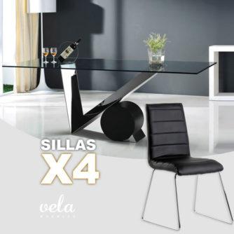 Conjunto mesa de cristal con estilo y sillas polipiel de alta calidad
