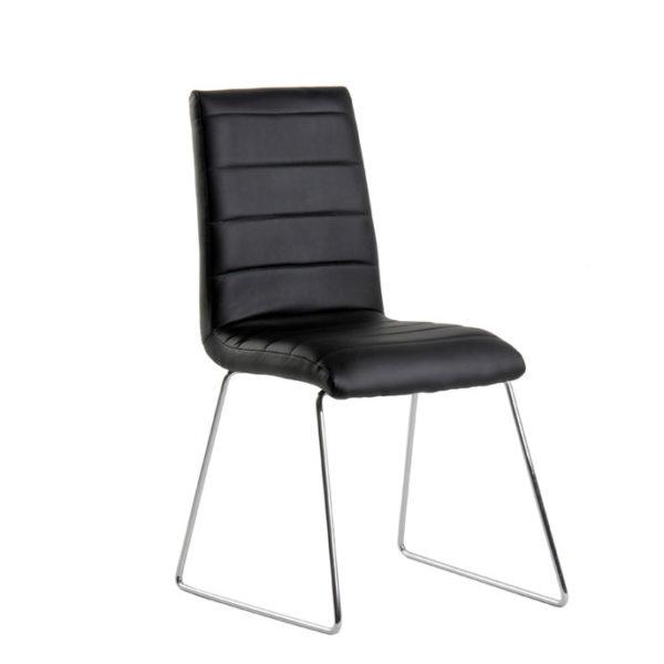 Conjunto de mesa extensible y sillas polipiel en negro for Sillas cromadas para comedor
