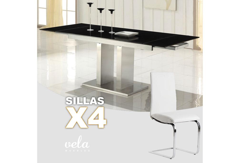 De mesas de comedor negra extensible y sillas polipiel