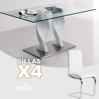 Conjunto de mesa cristal negro y sillas