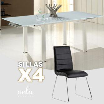 Conjunto de mesa extensible y sillas polipiel
