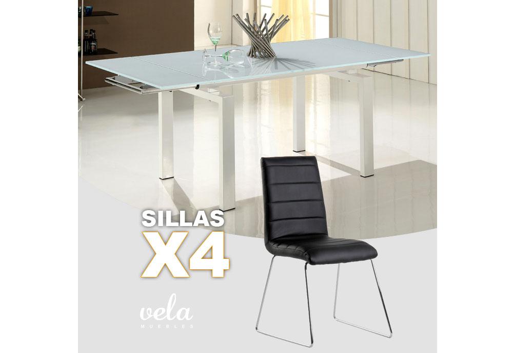 Conjunto de mesa extensible y sillas polipiel for Oferta mesa y sillas