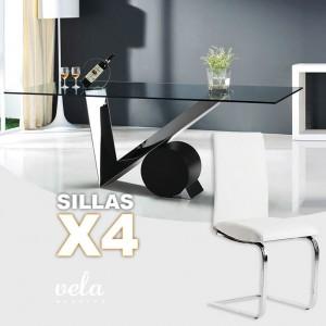 Mesas y sillas conjuntos a precios de f brica for Mesa cristal 4 personas