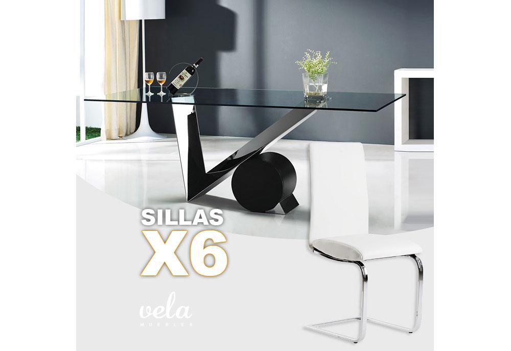 Conjunto de mesa cristal diseño y sillas polipiel - Vela Muebles