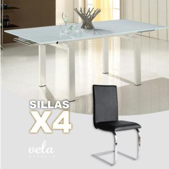 conjunto mesa comedor y sillas polipiel forma de c