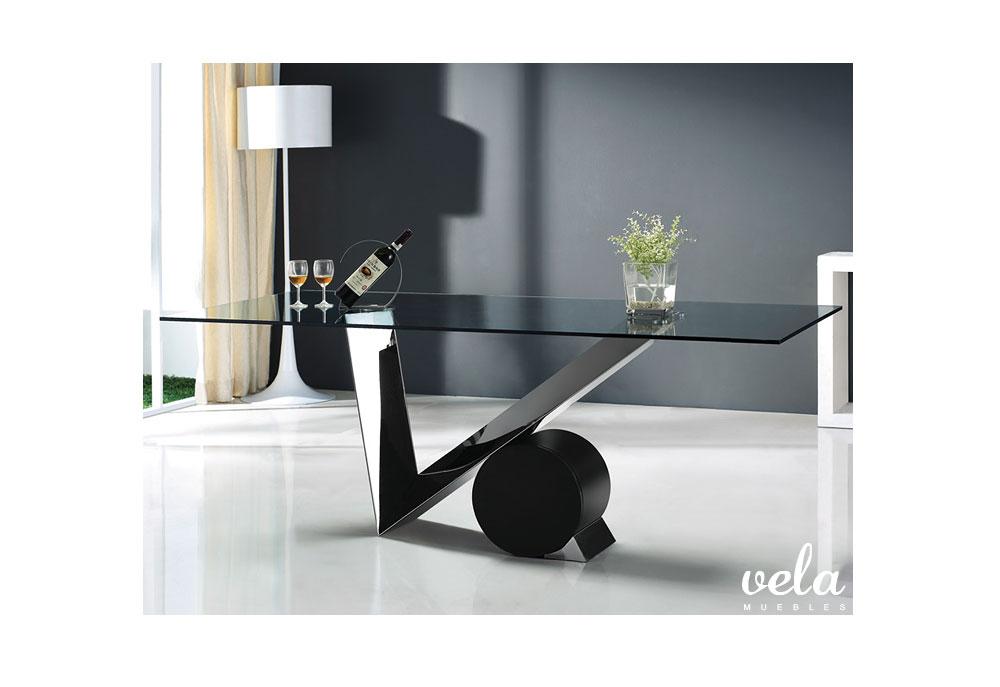 Conjunto de mesa cristal dise o y sillas polipiel vela - Mesas cristal diseno ...