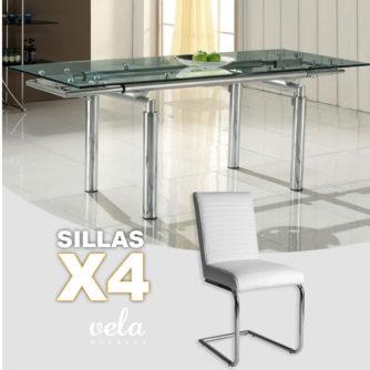 conjunto mesa extensible cristal y sillas polipiel