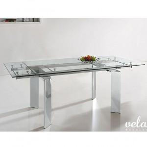 Mesa de comedor extensible cristal transparente