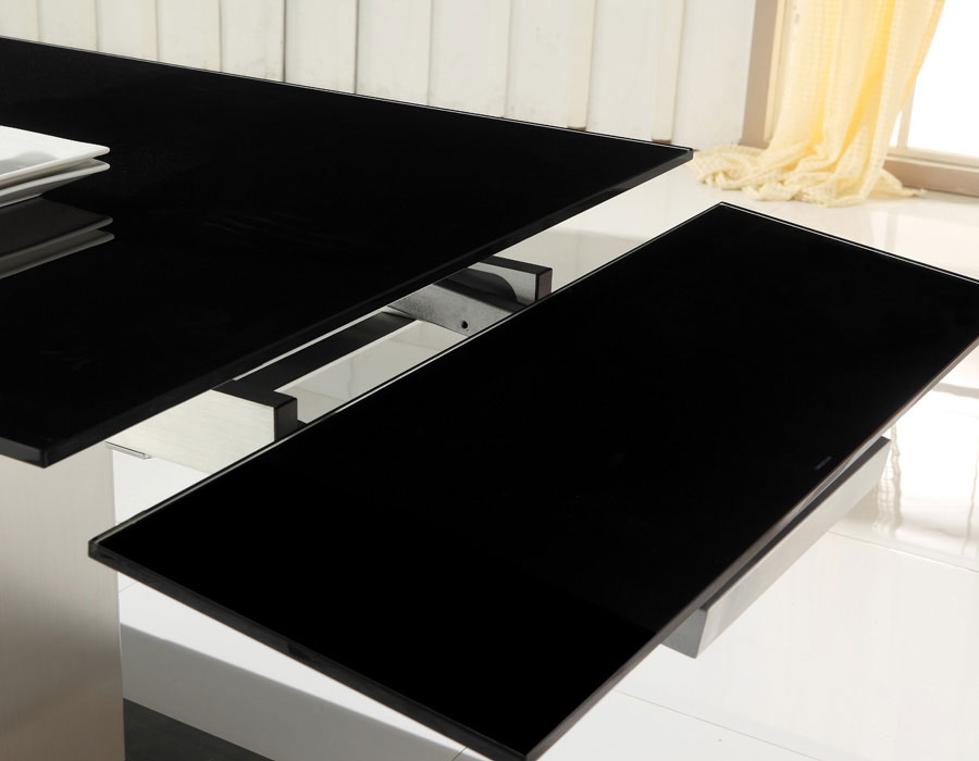 Juego de comedor mesa de vidrio extensible - Mesas de cristal de comedor ...