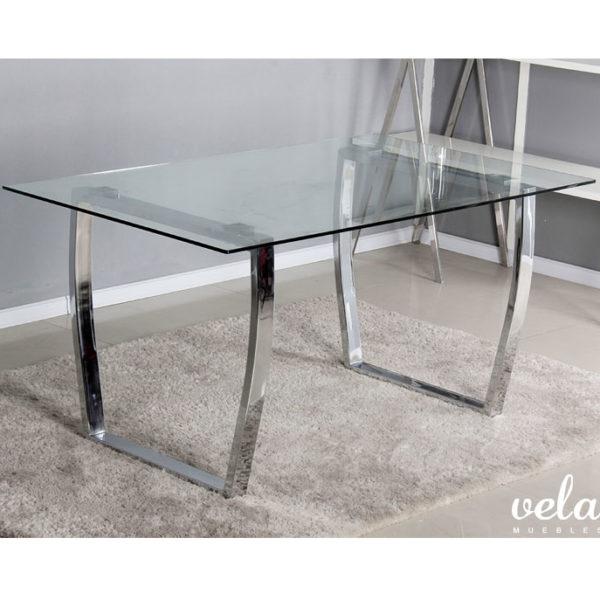 Mesa para comedor cristal transparente vela muebles for Sillas comedor para mesa cristal
