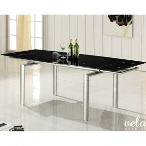 mesas-para-comedor-extensibles-cristal-negro
