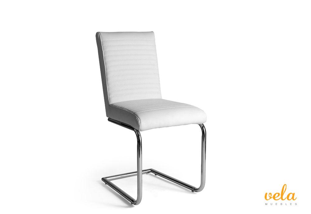 Conjunto mesa extensible cristal y sillas polipiel vela for Sillas de comedor blancas baratas