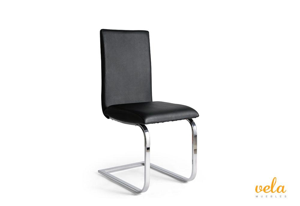 Conjunto de mesas de comedor negra extensible y sillas polipiel