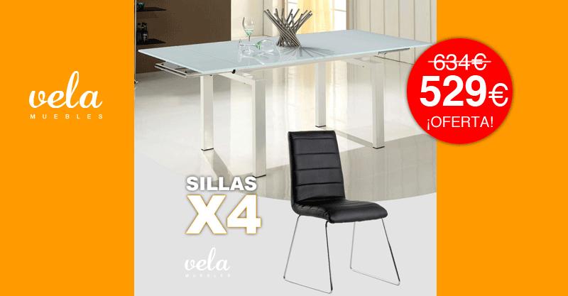 Oferta conjunto de mesa extensible y sillas polipiel for Conjunto mesa y sillas jardin oferta