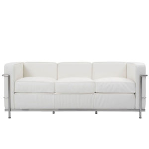 Sofás 3 plazas en piel color blanco