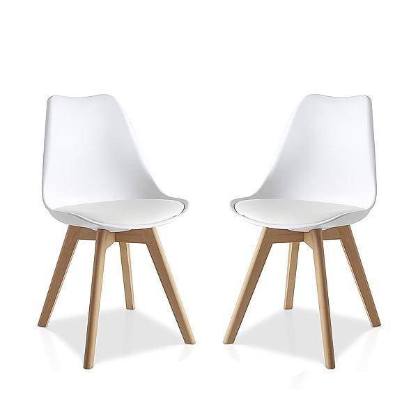 Pack 2 sillas blancas con asiento acolchado estilo - Sillas con estilo ...