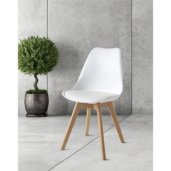 Pack de 2 sillas blancas con asiento acolchado estilo nórdico