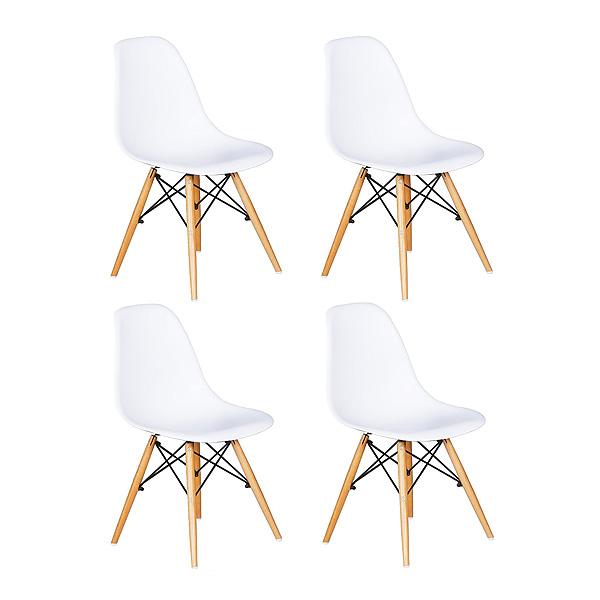 Juego de 4 sillas blancas studio