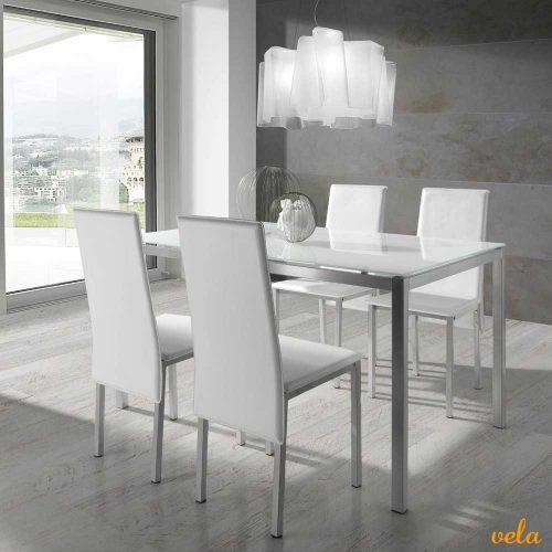 Mesas de comedor online madera cristal extensibles - Conjunto mesa extensible y sillas comedor ...