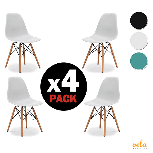 a03520c2f5b3 Pack 4 sillas - Silla Blanca Comedor nordica Replica Tower Eames DSW -  Madera Haya