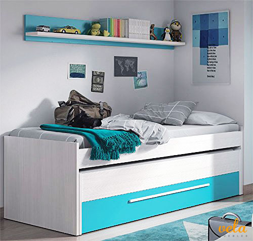 Cama nido juvenil dos camas y un cajón, color Blanco Line y Azul, dimensiones: 200cm (ancho) x 69cm (alto) x 96cm (fondo)