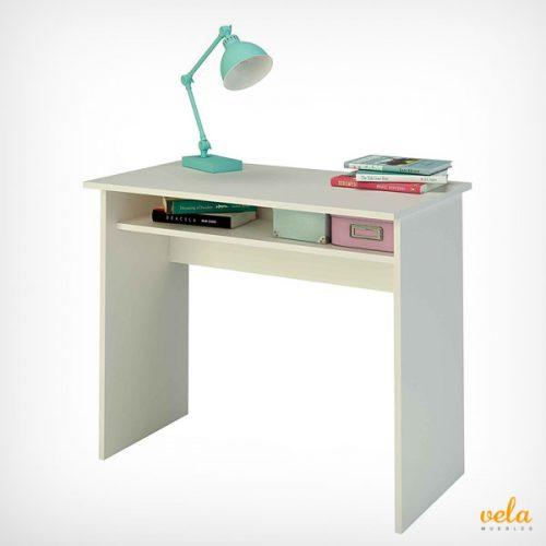 Mesa de escritorio de melamina de color blanco de 90 cm de ancho
