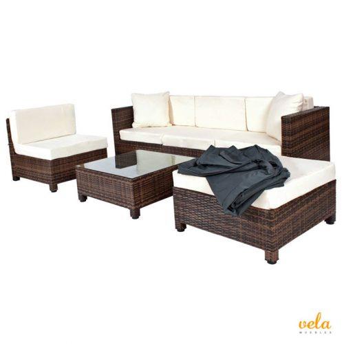 Conjunto muebles de Jardín en Poly Ratán Aluminio, Negro/Marrón mixed