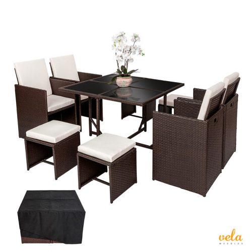 Conjunto de muebles de jardín mesas sillas y banquetas puff