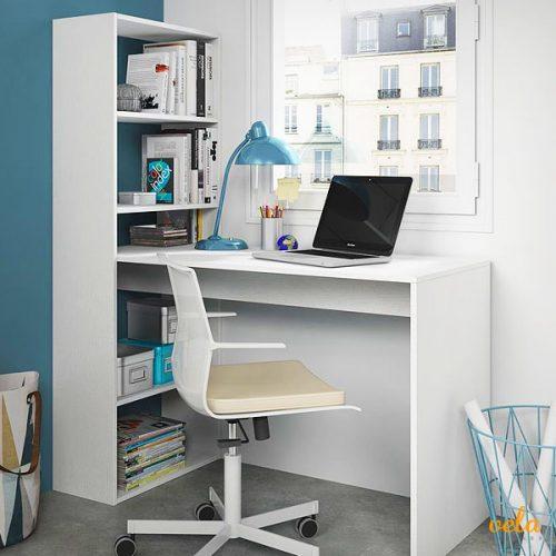 Escritorio y estantería, color Blanco Alpes