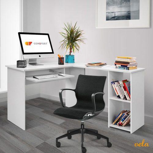 Escritorio Forma L Mesa de Ordenador Esquina Escritorios Juvenil para Hogar o Oficina 120/140x48x75 cm Color Blanco