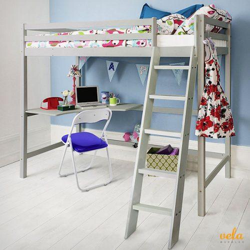 Literas con escritorio debajo simple cama alta casual ii - Literas con escritorio abajo ...