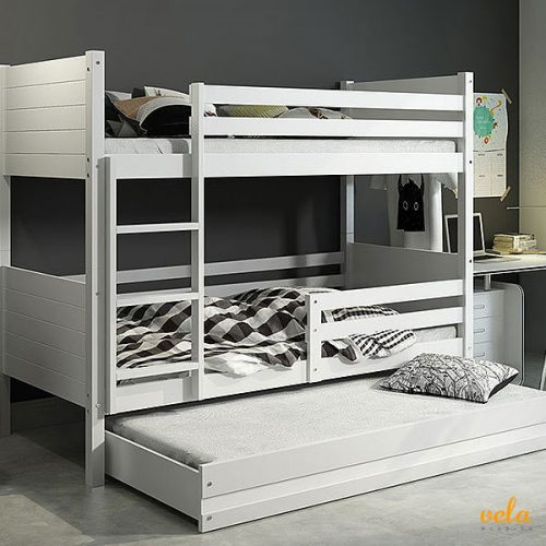 Cama triple con cama nido. Color blanca.