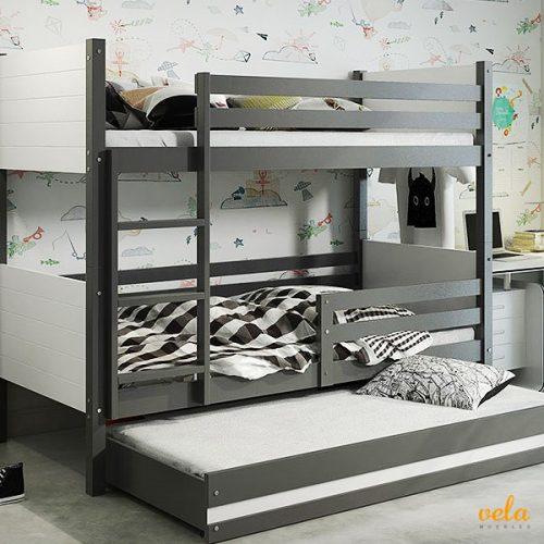 Litera triple con cama nido infantil juvenil 2 colores