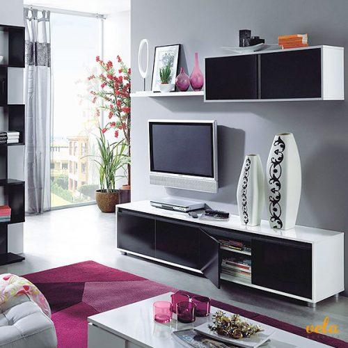 Salón moderno TV, color blanco y negro brillo
