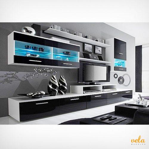 Salon moderno blanco mate y negro