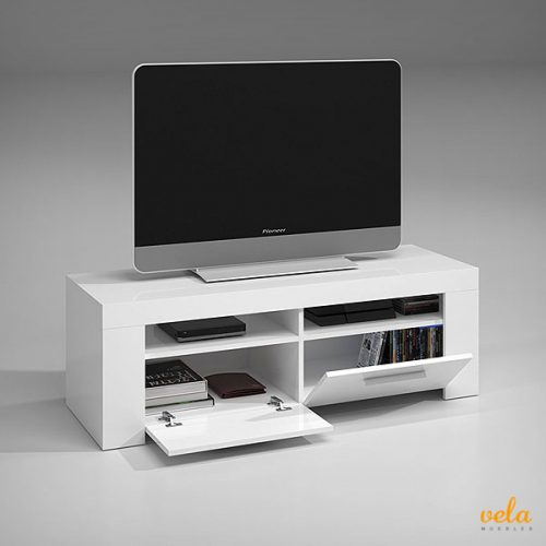 Mueble tv moderno. Color blanco brillo