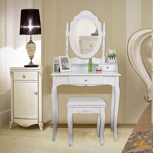 Con cajones, espejo y taburete