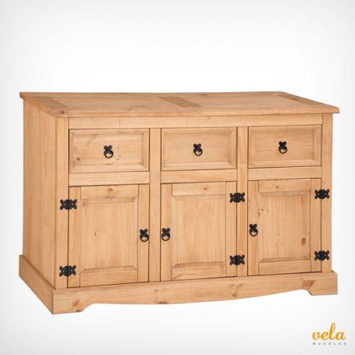 Aparador grande rústico, 3 puertas y 3 cajones, madera pino