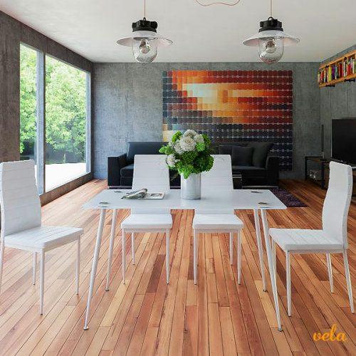 Pack de mesa de cristal y 4 sillas color blancas