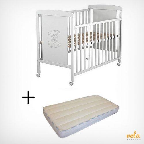 Cuna bebé con colchón viscoelástica y protector impermeable