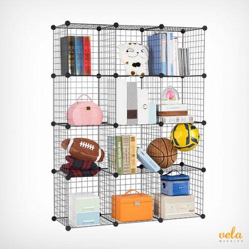 Libreria modular de rejilla color negro
