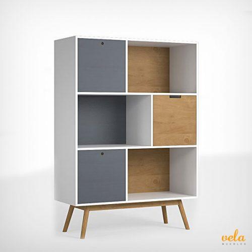 Librería mueble de diseño con puertas estilo vintage de madera de pino