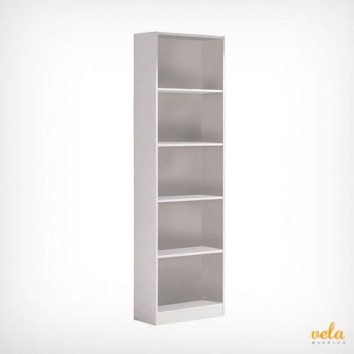 Librería mueble de 5 estantes color blanco de melamina