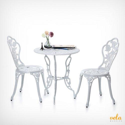 Mesa y sillas de jardín elegantes color blanco