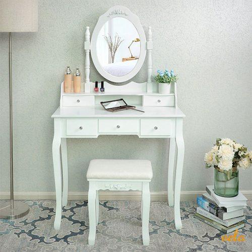 Tocadores de maquillaje baratos online con espejo luces for Espejos blancos baratos