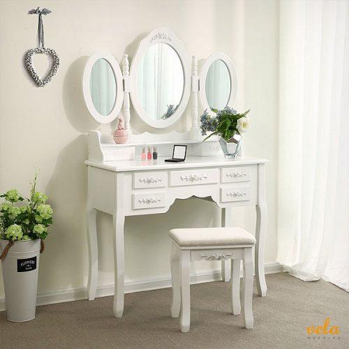 Con espejo triple, taburete y 7 cajones color blanco