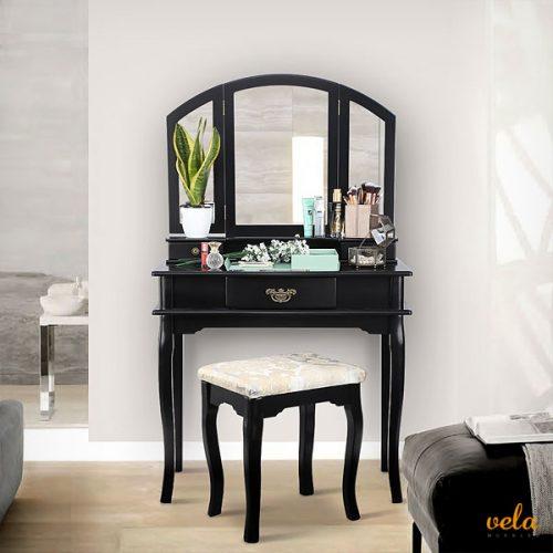 Vintage color negro con 3 espejos plegables estilo victoriano