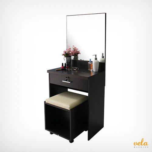 Moderno minimalista con espejo y taburete. Escritorio con cajón y llave